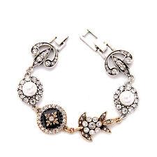 Souviens Gold Bracelet Crystal Florals Creamy Pearls + Enamel Vintage Silver