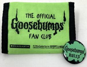 1996 Goosebumps Fan Club Wallet and 1995 Goosebumps Rules Pinback Button