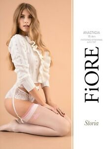 FiORE Anastasia Sheer Stockings 15 Denier Pink Lace Trim Tops Pink Pattern