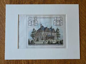 Block of Houses, Walnut Hills, Cincinnati, OH, 1878, Original Hand Colored