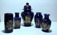 Set of 5 VTG Cobalt Blue Porcelain Ginger Jar w/Gold & Peacocks/mini vases JAPAN