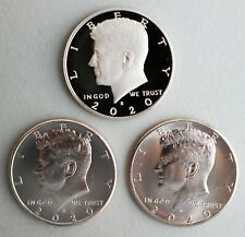 2020 PDS Proof and UNC Kennedy 3 Half Dollar Coins 50 Cents JFK Three 50c Lot