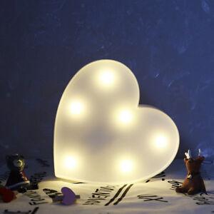 LED Light Up Alphabet Letter Light White Plastic Letter Standing Heart-White