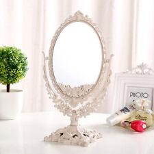 Beautiful Fashion European Style White Dual Sided Desktop Makeup Standing Mirror