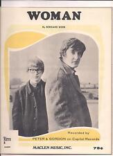 PETER & GORDON  - WOMAN - ORIGINAL & MINT '60s SHEET MUSIC