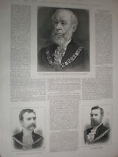 Alderman John Staples new Lord Mayor of London and new sherrifs 1885 old prints