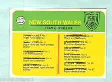 SCANLENS 1978 CRICKET CHECKLIST CARD, NEW SOUTH WALES, CHECKED