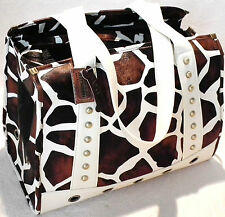 Backbone Faux Leather Giraffe Print Bird Dog Cat Pet Carrier 60%Off BA7032