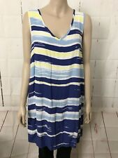 JEANSWEST Sz 10 Dress Blue Yellow NWOT Sleeveless V Neck  Casual Work Summer