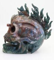 1749g brown green agate jade hand carved flame skull crystal healing K262