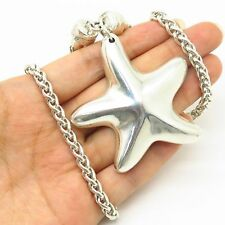 """J. Esposito 925 Sterling Large Starfish Pendant Wheat Chain Snap On Necklace 24"""""""