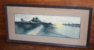 """FRAMED ARTS & CRAFTS ANTIQUE LANDSCAPE WATERCOLOR by F.F. BENGER 27x13"""""""