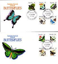 1983 Australian Animal Series Iii Butterflies on 2 Fdc's - Cloverdale 6105 Pmk