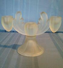 Vintage Frosted Glass Triple Taper Candle Holder Candlabra