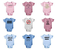 New Cute Funny Short Sleeve Baby Bodysuit Rompers Baby Grows Newborn 0-18 Months