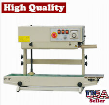 Table Top Vertical Stainless Steel Band Sealer With Ink Printer Continuous Sealing