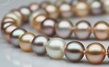"Superb18""10-11mm Natural sOUTH Sea genuine white gold pink multic pearl necklace"