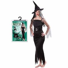 Ladies Black Witch Costume & Hat Halloween Fancy Dress Party Horror Vampire