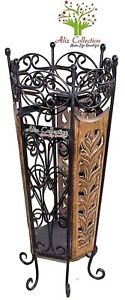 Wooden and Wrought Iron Umbrella Stand Cum Planter for Home Decor
