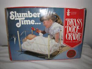 1986 Slumber Time Brass Doll Cradle with Foam Mattress - Brand New