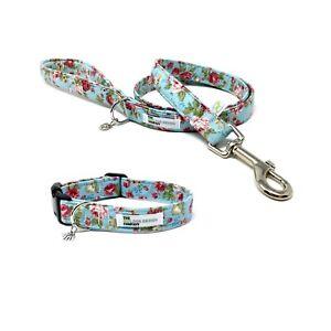 Vintage Rose Flower Print Dog Collar and Optional Matching Lead Set