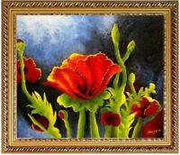 Ölbild Mohnblume Blumenmotive Blumenmalerei ÖLGEMÄLDE HANDGEMALT 50x60cm