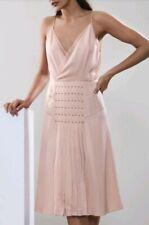 Designer REISS Daria satin eyelet dress size 12 --USED ONCE-- knee length nude