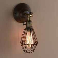 PAIR WALL LAMPS VINTAGE INDUSTRIAL CAGE WALL LIGHTS ANTIQUE BRASS SCONCE ON SALE