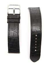 HERMES Black Leather Watch Strap Alligator Band Stainless Steel Buckle 16mm