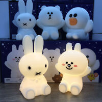Cute Silicone Bear Miffy LED Kids Bed Night Light USB Rechargeable Dimmable Lamp