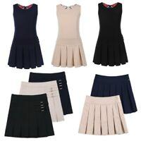 Girls Kids Mini Pleated Skirt School Pleated Hem Dress Jumper With Hidden Shorts