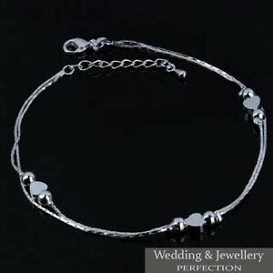 Ankle Bracelet Women 925 Sterling Silver Anklet Foot Jewelry Chain Beach Heart