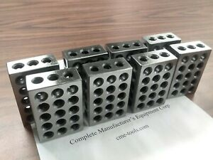 "4 pairs 1-2-3"" precision blocks 46 holes set up block pair 0.0002"" #701-123"