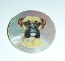 """Wonderful Boxer Dog on MOP - Mother Pearl Shank Button 1-3/8"""" Boxer Dog"""