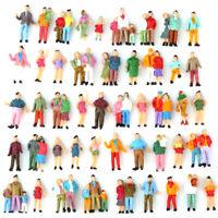 100pcs HO échelle 1:87 Modèle Passager Peint  Personnages Assorties Poses