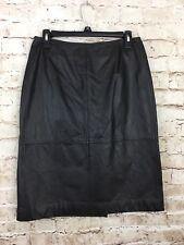 Preston & York Premiere Black Brown 100% Genuine Leather Pencil Skirt Size 8