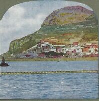 North Front Gibraltar, From the Sea, Circa 1900 Vintage Stereoview