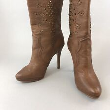 Nine West Brown Studded Jewelled Leather Ankle High Heels Boho Hippies Boots UK3