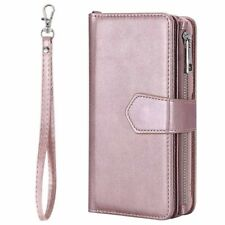 For iPhone 11 12 8 7 6s Removable Magnetic Zipper Wallet Flip Leather Case Cover