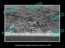 OLD LARGE HISTORIC PHOTO OF SEAFORD SUSSEX ENGLAND, AERIAL VIEW OF TOWN c1950 1