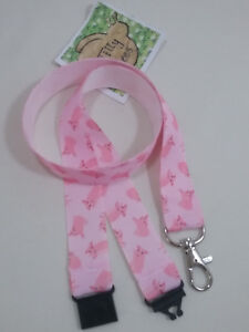 New Cute Piglets pigs PINK ribbon lanyard safety clip ID badge holder gift idea