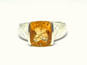 Citrine Mens Band Solid Silver Ring Citrine Statement Ring Cocktail