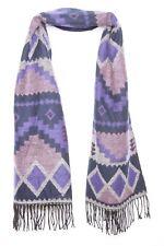 Funky Forme Imprimé Violet Bleu Marine & Rose Chaud Casual Hiver écharpe W pompons (s79)