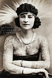 1920's Carnival Sideshow - Artoria Gibbons The Tattooed Woman - Postcard Poster