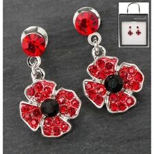 Equilibrium Silver Plated Poppy Rememberance Drop Earrings Boxed- 64240