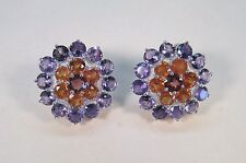 AMETHYST, ORANGE SAPPHIRE, GARNET EARRINGS 10.2 CTW - WHITE GOLD over 925 SILVER