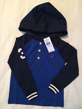 Ralph Lauren Polo Boys Royal Blue Rugby Hoodie Shirt Size 4 36-40 lbs Baseball