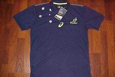 ASICS Wallabies Australian Men Indigo Blue Rugby Performance Polo Shirt S New