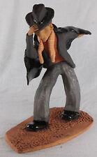 Large Ceramic Sculpture Man Against The Wind by Richard Siegel - Surrealism