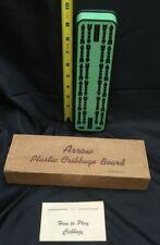 vintage Arrow plastic cribbage board mint green mid century modern wood base